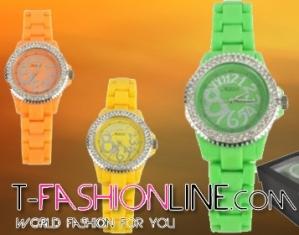 Luxusné hodinky s kamienkami a silikónovým remienkom 7bb82c9238d